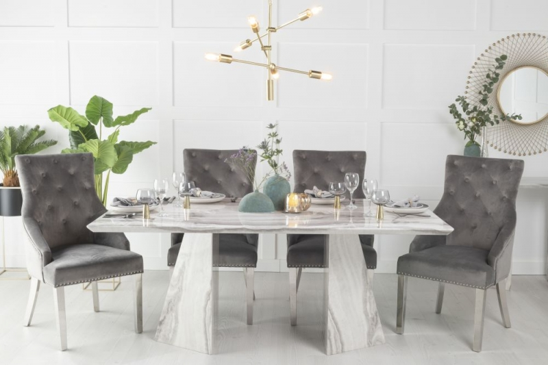 Buy Urban Deco Midas Grey and White Marble Double Pedestal 180cm Dining Table with 4 Grey Knockerback Chrome Leg Chairs and Get 2 Extra Chairs Worth £398 For FREE