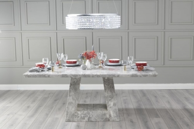 Urban Deco Milan 200cm Grey Marble Dining Table