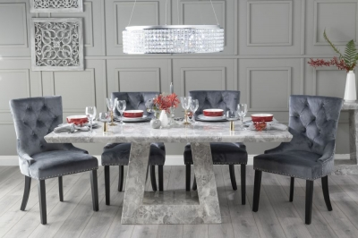 Urban Deco Milan 160cm Grey Marble Dining Table with 6 Grey Knockerback Chairs