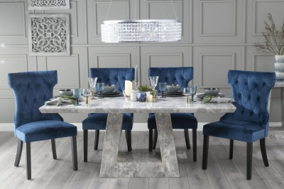 Urban Deco Milan 160cm Grey Marble Dining Table with 6 Courtney Blue Chairs