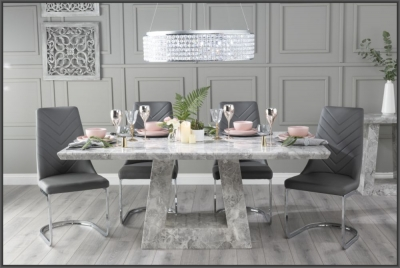 Urban Deco Milan 160cm Grey Marble Dining Table with 6 Phoenix Dark Grey Brushed Metal Base Chairs