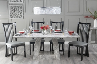 Urban Deco Milan 200cm Grey Marble Dining Table with 6 Athena Black Gloss Chairs