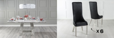 Urban Deco Milan 160cm Grey Marble Dining Table and 6 Allure Black Chairs