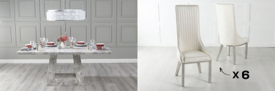 Urban Deco Milan 160cm Grey Marble Dining Table and 6 Allure White Chairs