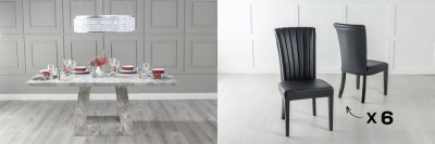 Urban Deco Milan 160cm Grey Marble Dining Table and 6 Cadiz Black Chairs