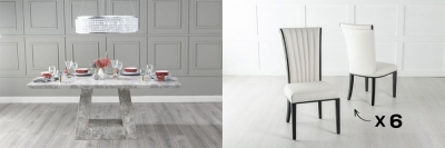 Urban Deco Milan 160cm Grey Marble Dining Table and 6 Cadiz White Chairs