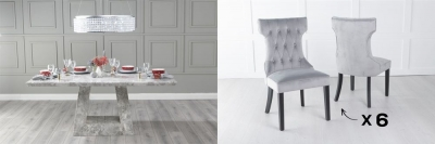 Urban Deco Milan 200cm Grey Marble Dining Table and 6 Courtney Light Grey Chairs