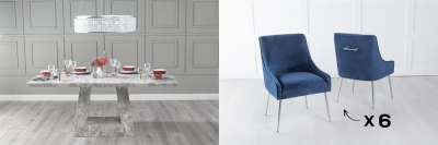 Urban Deco Milan 160cm Grey Marble Dining Table and 6 Giovanni Blue Chairs