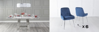 Urban Deco Milan 200cm Grey Marble Dining Table and 6 Hamilton Blue Chairs