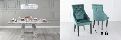 Urban Deco Milan 160cm Grey Marble Dining Table and 6 Large Knockerback Green Chairs