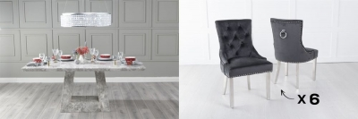 Urban Deco Milan 180cm Grey Marble Dining Table and 6 Knockerback Black Chairs with Chrome Legs