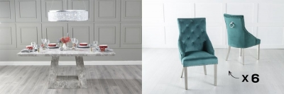 Urban Deco Milan 200cm Grey Marble Dining Table and 6 Large Knockerback Green Chairs with Chrome Legs