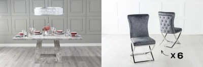 Urban Deco Milan 180cm Grey Marble Dining Table and 6 Lyon Grey Chairs