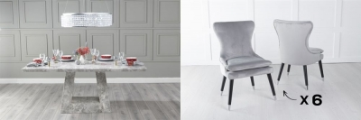 Urban Deco Milan 200cm Grey Marble Dining Table and 6 Mason Light Grey Chairs
