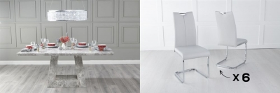 Urban Deco Milan 200cm Grey Marble Dining Table and 6 Nikko Light Grey Chairs