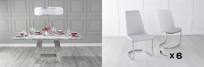 Urban Deco Milan 180cm Grey Marble Dining Table and 6 Pheonix Light Grey Chairs