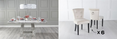 Urban Deco Milan 160cm Grey Marble Dining Table and 6 Sandringham Champagne Chairs