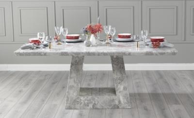 Urban Deco Milan 160cm Grey Marble Dining Table