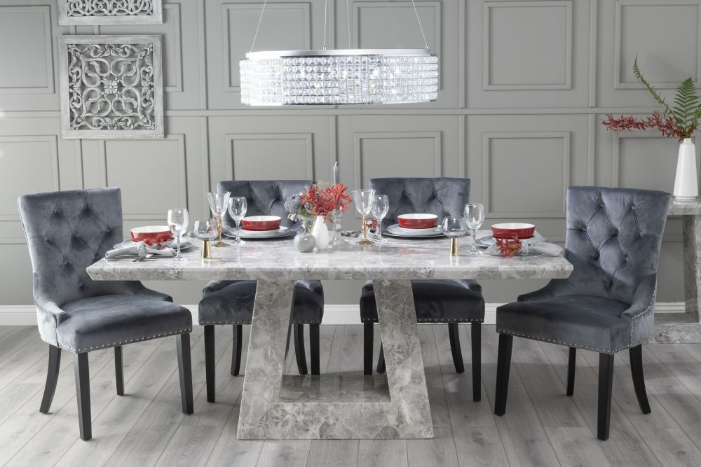Product photograph showing Urban Deco Milan 160cm Grey Marble Dining Table With 6 Grey Knockerback Chairs