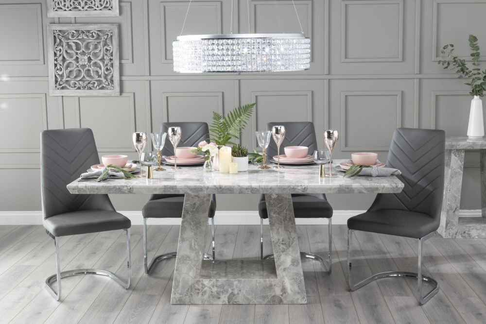 Urban Deco Milan 200cm Grey Marble Dining Table with 6 Phoenix Dark Grey Brushed Metal Base Chairs