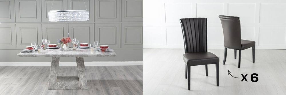Urban Deco Milan 180cm Grey Marble Dining Table and 6 Cadiz Brown Chairs