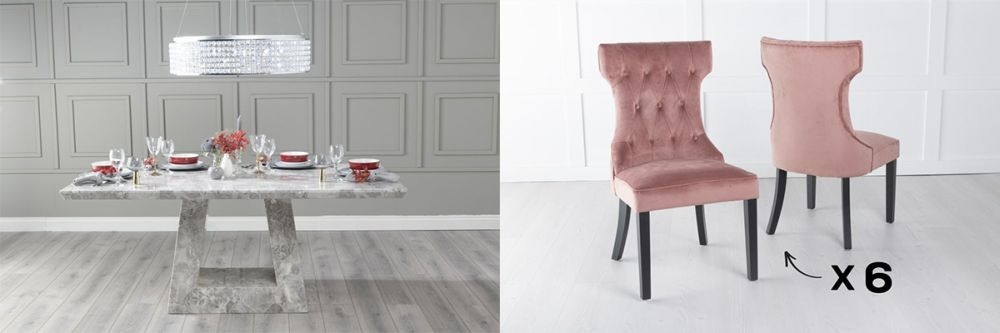 Urban Deco Milan 180cm Grey Marble Dining Table and 6 Courtney Pink Chairs