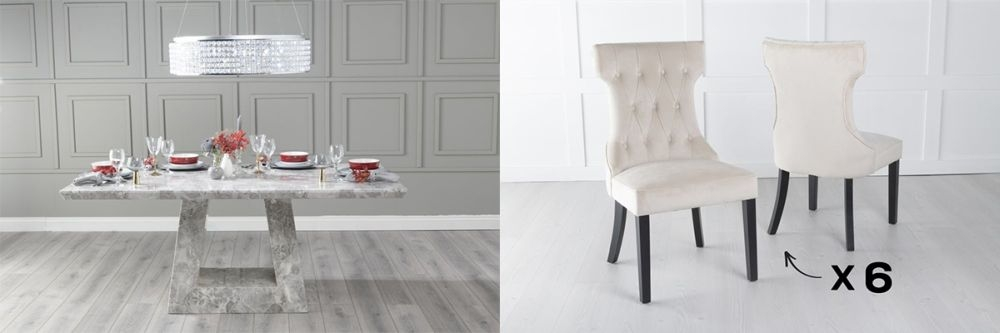 Urban Deco Milan 200cm Grey Marble Dining Table and 6 Courtney Champagne Chairs
