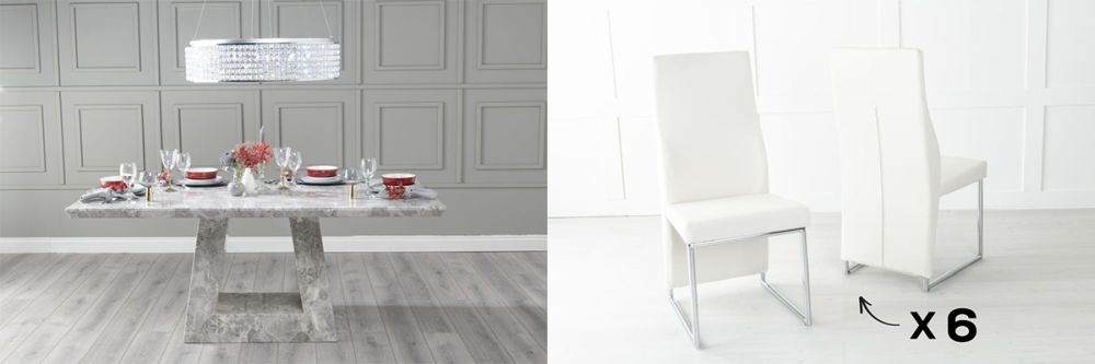 Urban Deco Milan 160cm Grey Marble Dining Table and 6 Enzo Cream Chairs