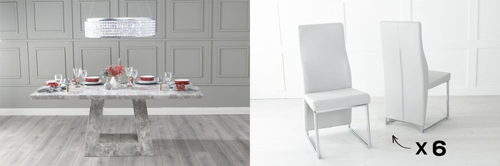 Urban Deco Milan 180cm Grey Marble Dining Table and 6 Enzo Light Grey Chairs