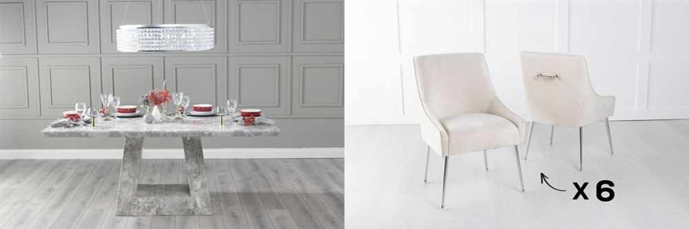Urban Deco Milan 160cm Grey Marble Dining Table and 6 Giovanni Champagne Chairs