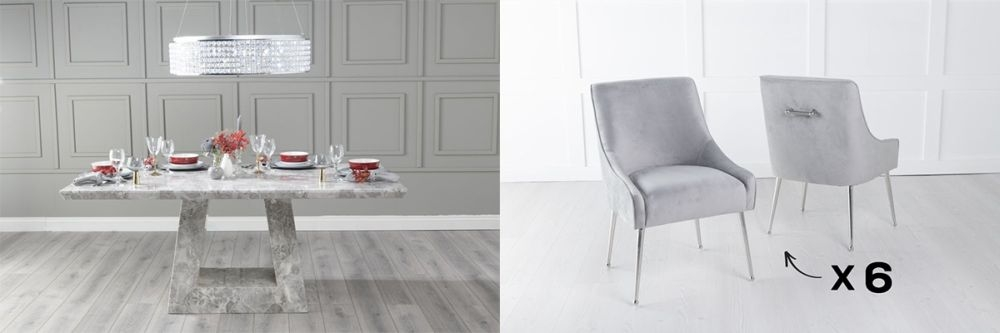 Urban Deco Milan 160cm Grey Marble Dining Table and 6 Giovanni Light Grey Chairs