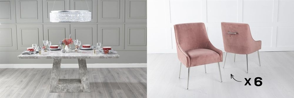 Urban Deco Milan 180cm Grey Marble Dining Table and 6 Giovanni Pink Chairs