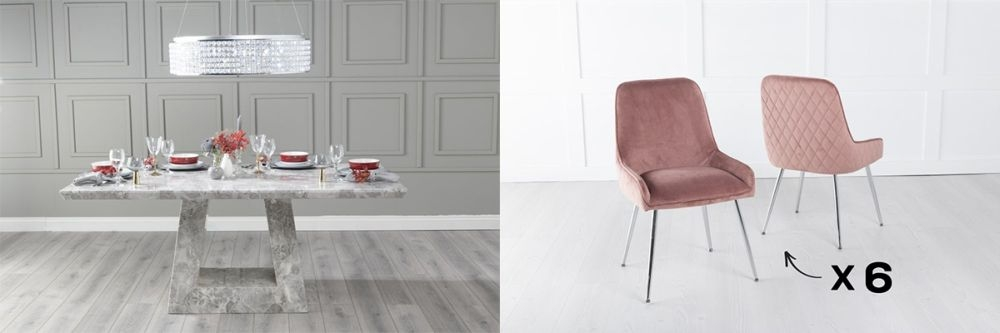 Urban Deco Milan 160cm Grey Marble Dining Table and 6 Hamilton Pink Chairs