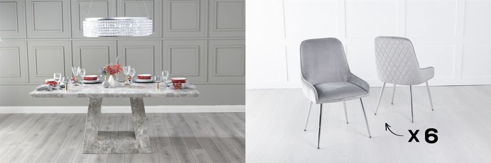Urban Deco Milan 180cm Grey Marble Dining Table and 6 Hamilton Light Grey Chairs