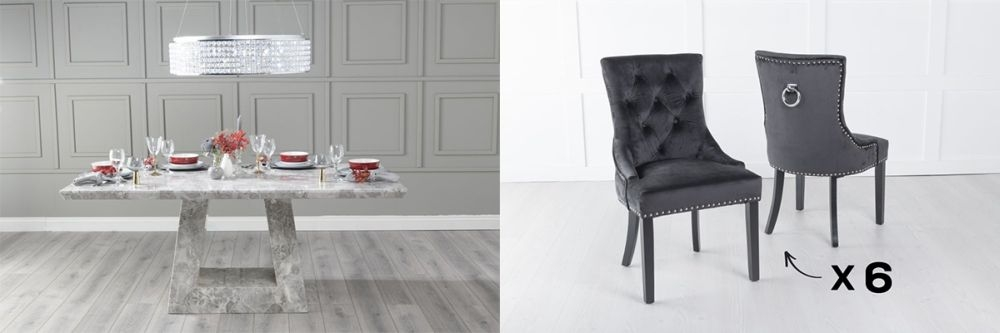Urban Deco Milan 160cm Grey Marble Dining Table and 6 Knockerback Black Chairs