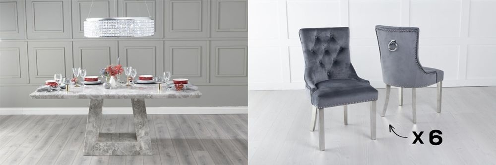 Urban Deco Milan 160cm Grey Marble Dining Table and 6 Knockerback Grey Chairs with Chrome Legs