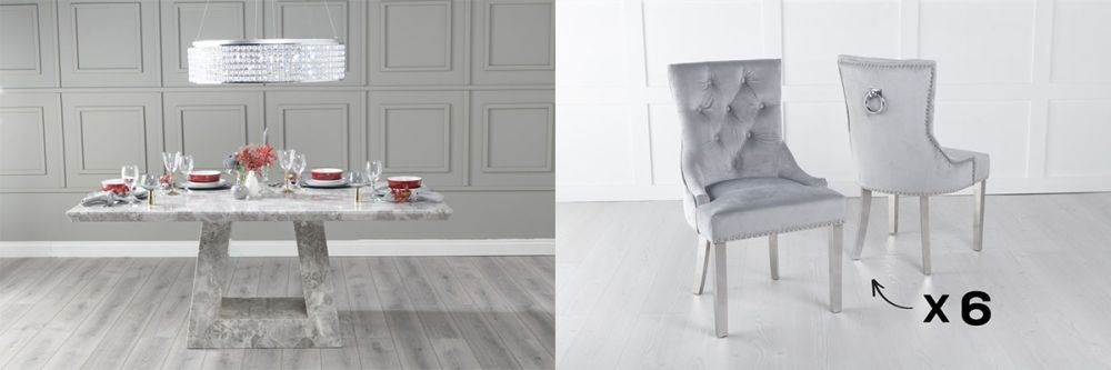 Urban Deco Milan 160cm Grey Marble Dining Table and 6 Knockerback Light Grey Chairs with Chrome Legs