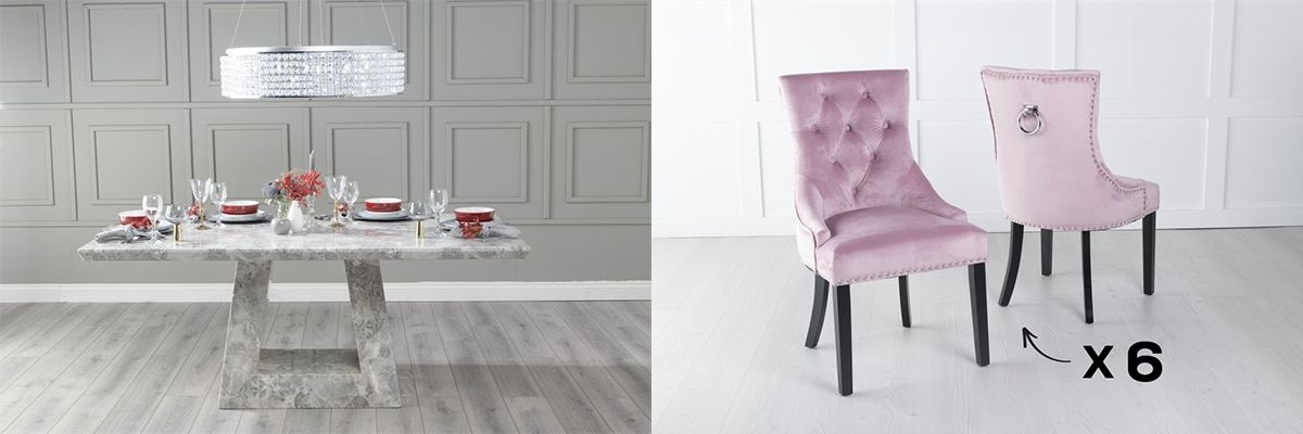 Urban Deco Milan 160cm Grey Marble Dining Table and 6 Knockerback Pink Chairs