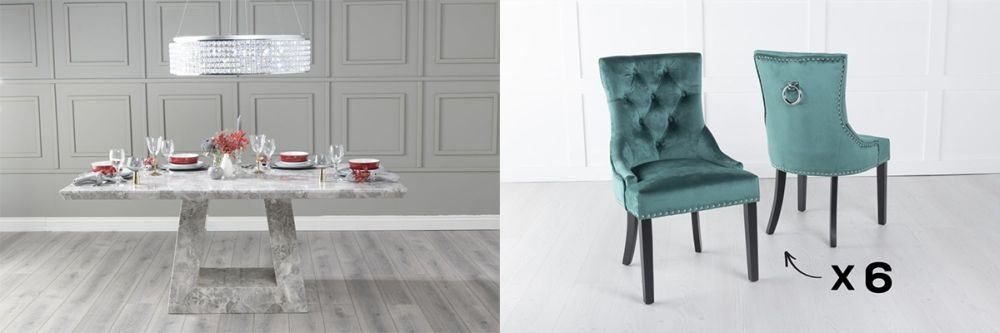 Urban Deco Milan 180cm Grey Marble Dining Table and 6 Knockerback Green Chairs