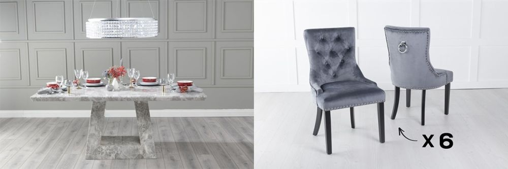 Urban Deco Milan 180cm Grey Marble Dining Table and 6 Knockerback Grey Chairs