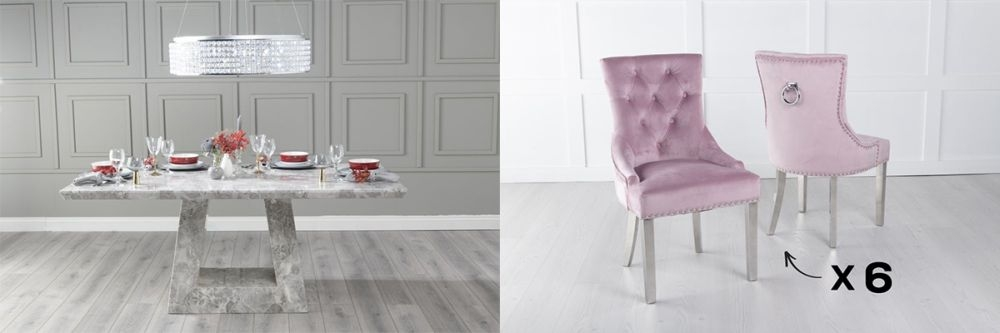 Urban Deco Milan 180cm Grey Marble Dining Table and 6 Knockerback Pink Chairs with Chrome Legs