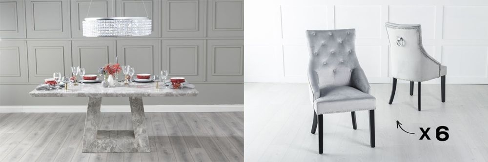 Urban Deco Milan 180cm Grey Marble Dining Table and 6 Large Knockerback Light Grey Chairs