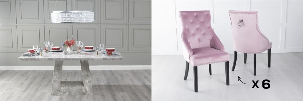 Urban Deco Milan 180cm Grey Marble Dining Table and 6 Large Knockerback Pink Chairs