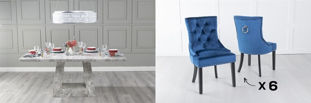 Urban Deco Milan 200cm Grey Marble Dining Table and 6 Knockerback Blue Chairs