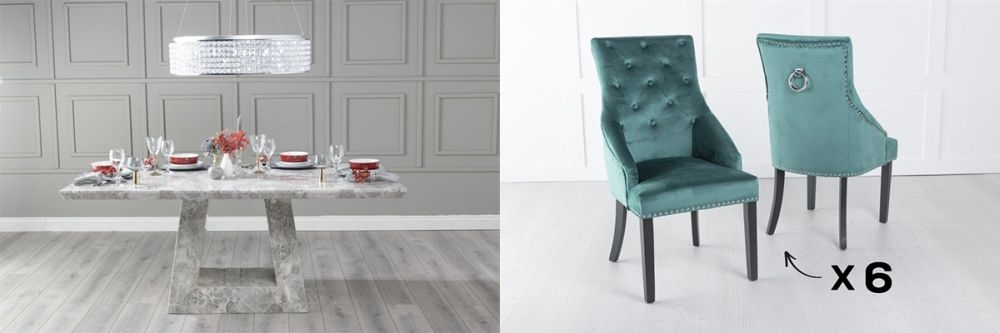 Urban Deco Milan 200cm Grey Marble Dining Table and 6 Large Knockerback Green Chairs