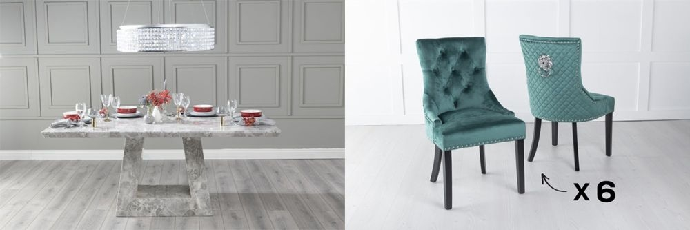 Urban Deco Milan 160cm Grey Marble Dining Table and 6 Lion Head Green Chairs
