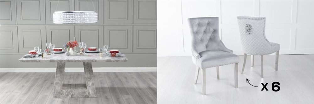 Urban Deco Milan 160cm Grey Marble Dining Table and 6 Lion Head Light Grey Chairs with Chrome Legs