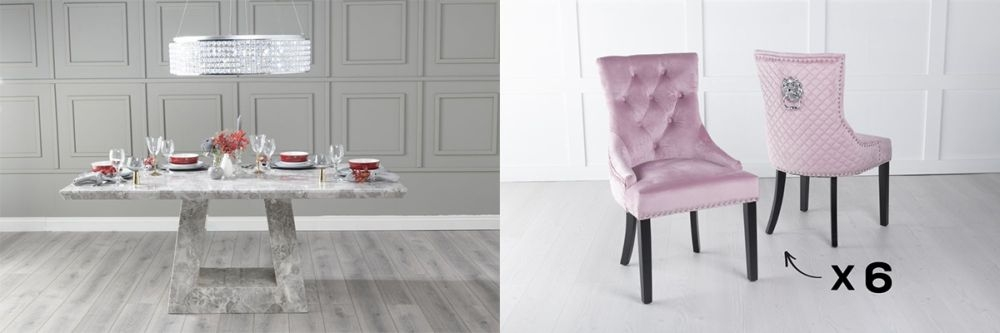 Urban Deco Milan 160cm Grey Marble Dining Table and 6 Lion Head Pink Chairs