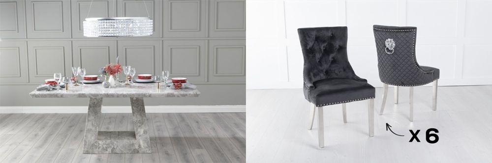 Urban Deco Milan 180cm Grey Marble Dining Table and 6 Lion Head Black Chairs with Chrome Legs