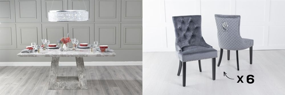 Urban Deco Milan 180cm Grey Marble Dining Table and 6 Lion Head Grey Chairs